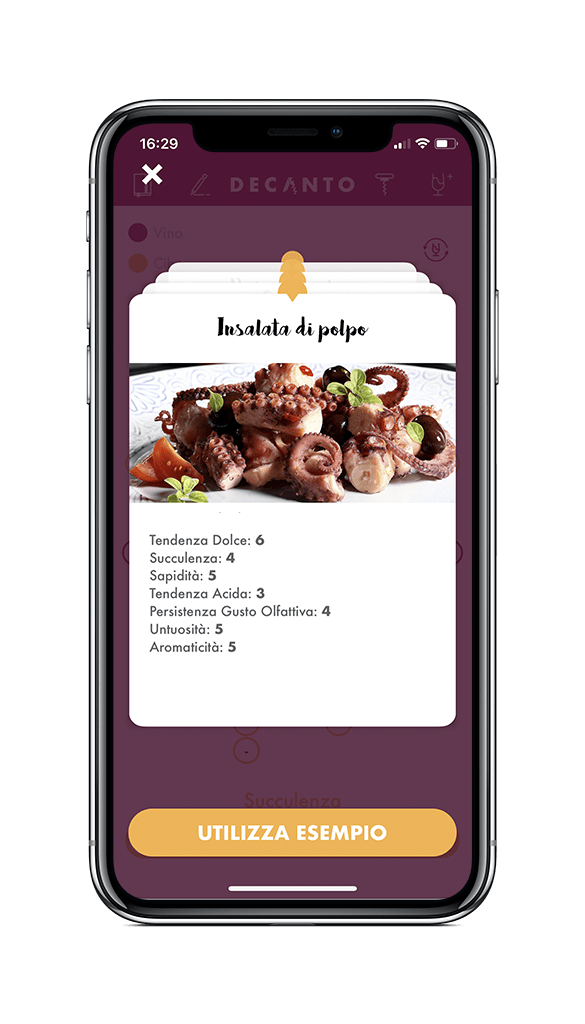 Screenshot di Decanto - Wine Pairing App iPhone X Scheda Cibo