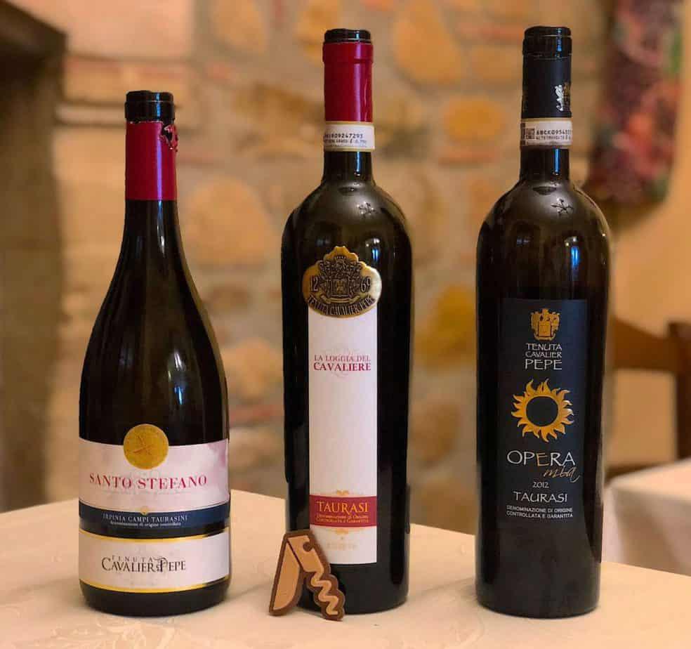 I vini rossi della cantina Cavalier Pepe