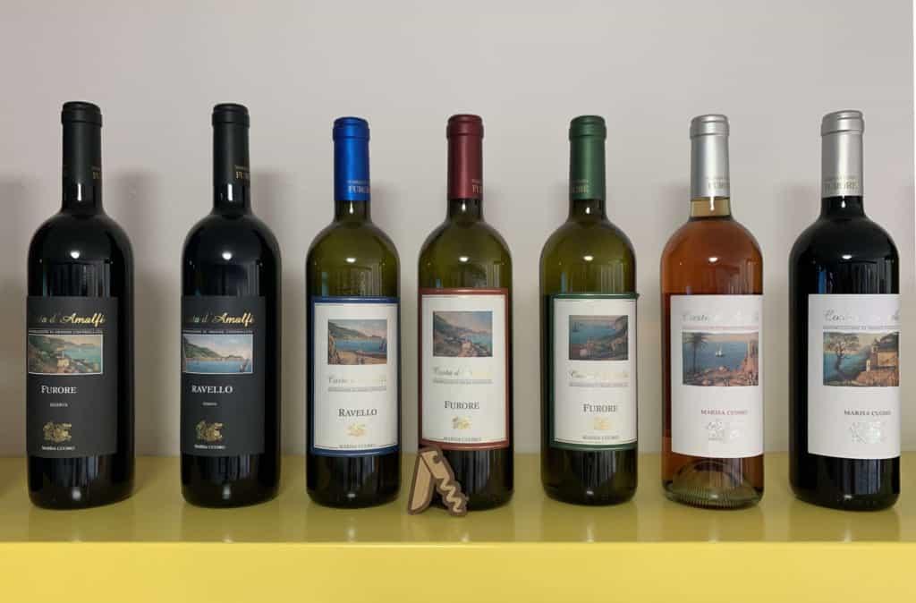 Marisa Cuomo, batteria di vini Furore, Ravello e Costa d'Amalfi