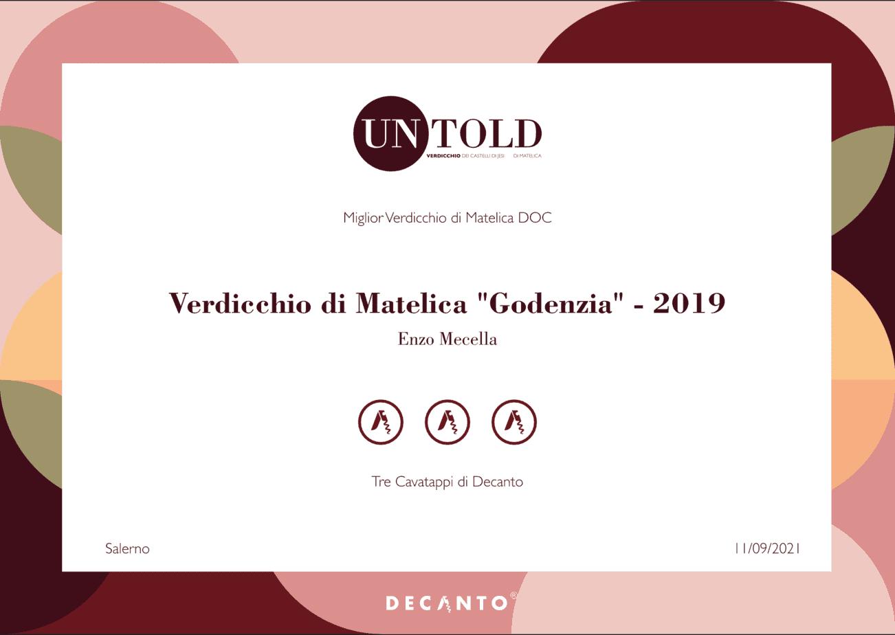 Certificato Godenzia 3 Cavatappi di Decanto