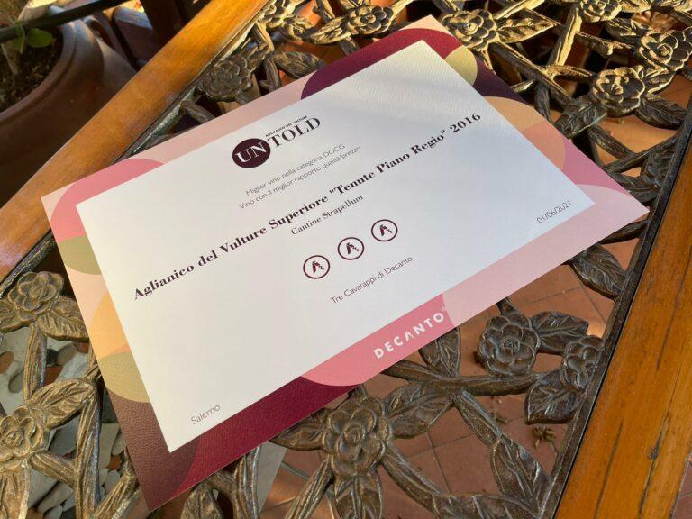 Certificato 3 Cavatappi di Decanto